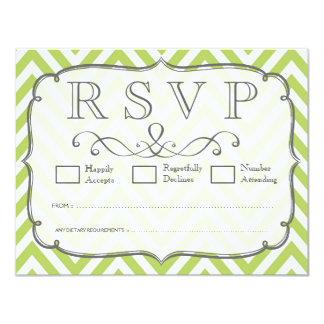 Tender Shoots Green Chevron Wedding RSVP Cards