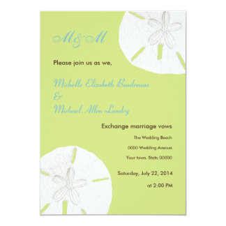Tender Shoots Green Sand Dollar Wedding Card