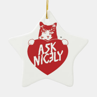 Tender Vittles Ask Nicely Double-Sided Star Ceramic Christmas Ornament