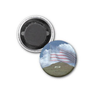 Tenderfoot Hill & US Flag 1 Inch Round Magnet