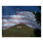 Tenderfoot Hill with US Flag Print