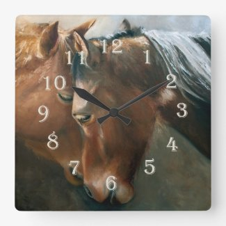 Tenderness - Two Horses Nuzzling Clock