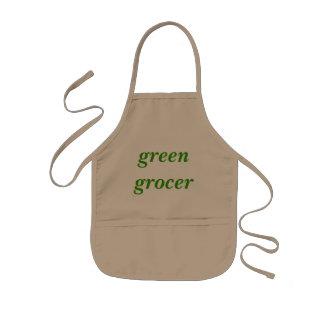 Tendero verde delantal infantil