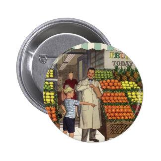 Tendero y muchacho del negocio del vintage por el chapa redonda 5 cm