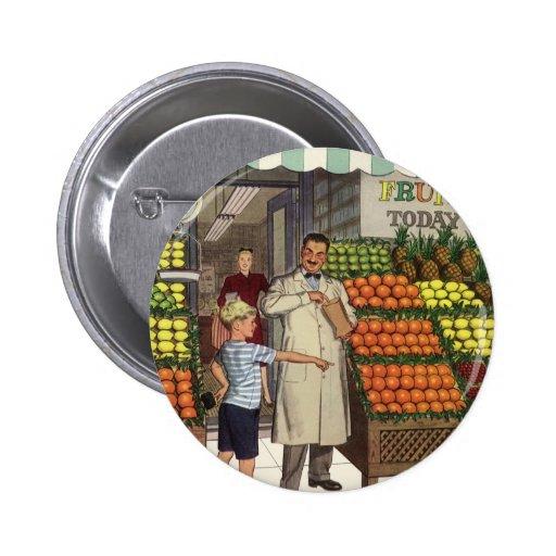 Tendero y muchacho del negocio del vintage por el pin redondo 5 cm
