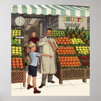 Tendero y muchacho del negocio del vintage por el póster