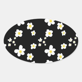 Tendiendo la margarita modele el blanco amarillo pegatina ovalada