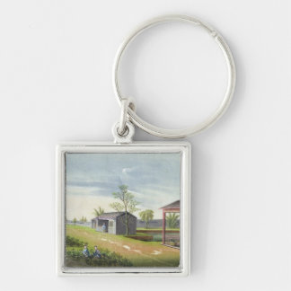 Tending tea plants (w/c on paper) keychain