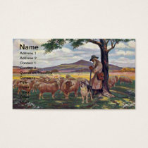 Tending the Flock Vintage Sheep and Shepherd Business Card