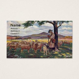 Tending the Flock Vintage Sheep and Shepherd Business Card
