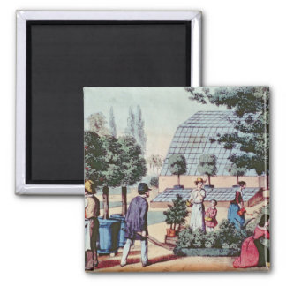 Tending the Garden, c.1860 (colour engraving) 2 Inch Square Magnet