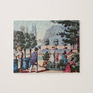 Tending the Garden, c.1860 (colour engraving) Jigsaw Puzzle