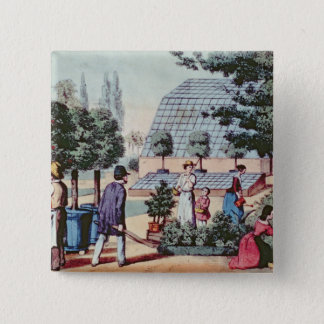 Tending the Garden, c.1860 (colour engraving) Pinback Button