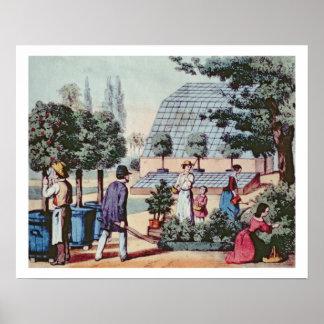 Tending the Garden, c.1860 (colour engraving) Poster