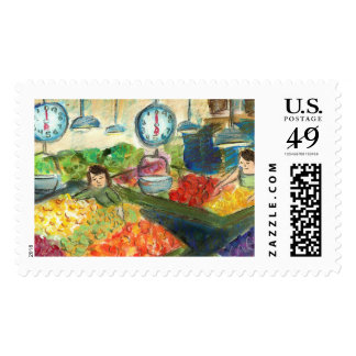 Tending the Produce Postage Stamp (Detail)