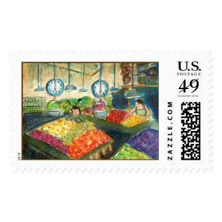 Tending the Produce Postage Stamp (Seattle, WA)