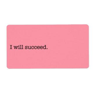 Tendré éxito cita inspirada del éxito etiquetas de envío