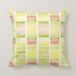 Tendril-Green and yellow lines watercolor pattern Throw Pillow