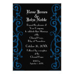 Tendrillon Ebony (Blue) Wedding Invitation