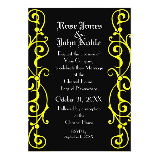Tendrillon Ebony (Yellow) Wedding Invitation