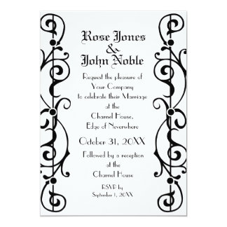 Tendrillon Ivory (Black) Wedding Invitation