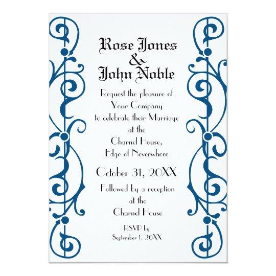 Tendrillon Ivory (Blue) Wedding Invitation