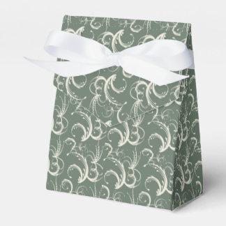 Tendrils del helecho en crema en verde salvia caja para regalos de fiestas