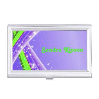 Tenedor abstracto púrpura y verde de la tarjeta de cajas de tarjetas de visita