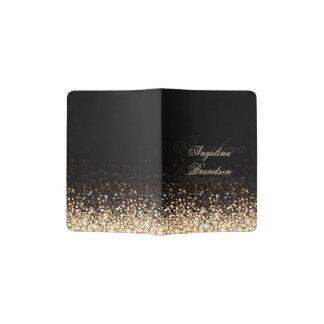 Tenedor brillante del pasaporte del negro del porta pasaportes