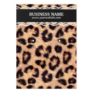 Tenedor con clase del estampado leopardo y del tarjetas de visita grandes