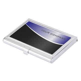 Tenedor de acero negro y azul de la tarjeta de cajas de tarjetas de negocios