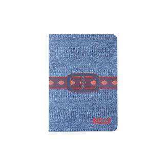 Tenedor de encargo del pasaporte de la mirada azul porta pasaportes