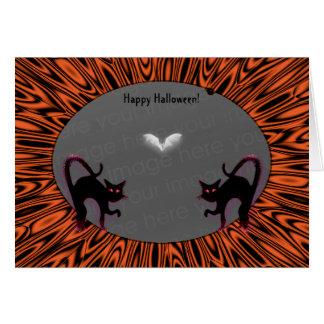 ¡Tenedor de la foto de 2 gatos de Halloween! Tarjeta De Felicitación
