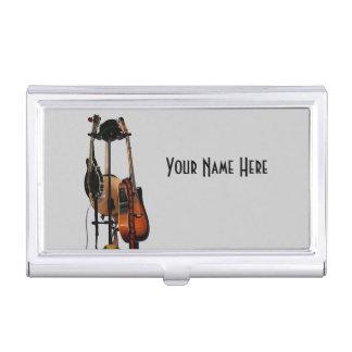 Tenedor de la tarjeta de visita de los instrumento caja de tarjetas de negocios