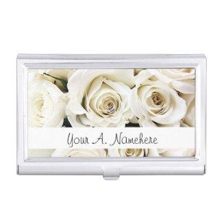 Tenedor de la tarjeta de visita de los rosas blanc cajas de tarjetas de visita
