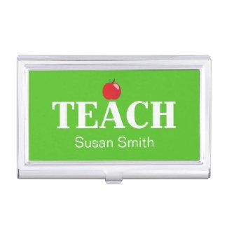 Tenedor de la tarjeta de visita del profesor cajas de tarjetas de visita