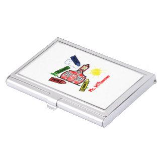 Tenedor de la tarjeta de visita del profesor de la cajas de tarjetas de visita