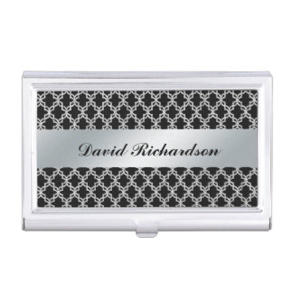 Tenedor de plata negro elegante de la tarjeta de l caja de tarjetas de presentación