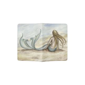Tenedor del pasaporte de la sirena de la playa de porta pasaportes