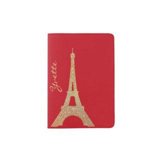 Tenedor del pasaporte de la torre Eiffel del Porta Pasaportes