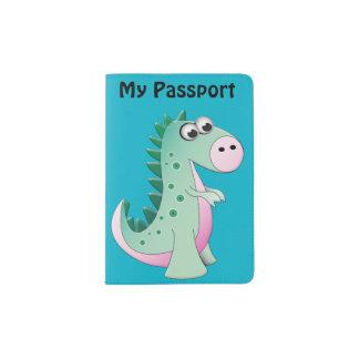 Tenedor del pasaporte del dinosaurio del dibujo porta pasaporte