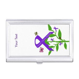 Tenedor púrpura de la cinta (conciencia de la cajas de tarjetas de visita