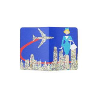 Tenedor retro del pasaporte del asistente de vuelo porta pasaporte