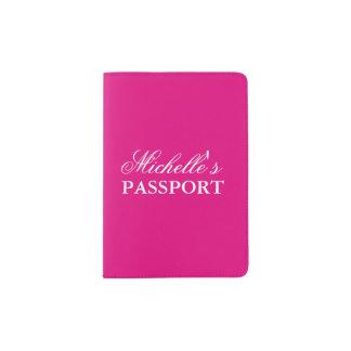 Tenedor rosado de neón personalizado del pasaporte porta pasaporte