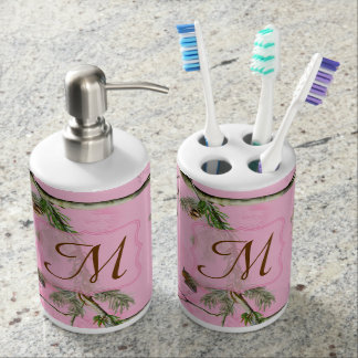 Tenedor rosado del cepillo de dientes de la sets de baño