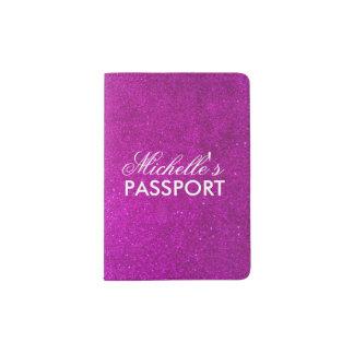 Tenedor rosado personalizado del pasaporte del porta pasaporte