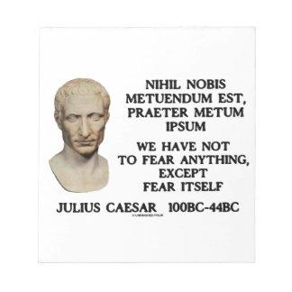 Tenemos no temer cualquier cosa excepto el miedo blocs