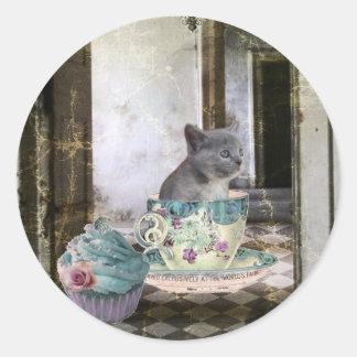 Tenemos pegatinas del gatito de las magdalenas pegatinas redondas