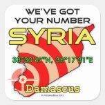 Tenemos su número Siria Calcomanía Cuadrada