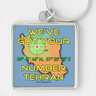 Tenemos su número Teherán Llavero Cuadrado Plateado